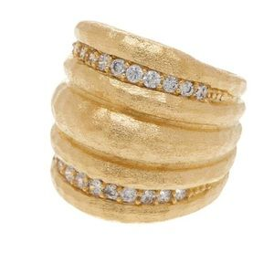🌟 Stunning gold clad dome ring cubic zirconia
